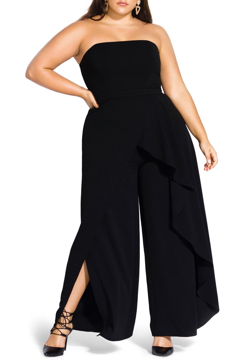 CITY CHIC Attraction Strapless Jumpsuit, Main, color, 001