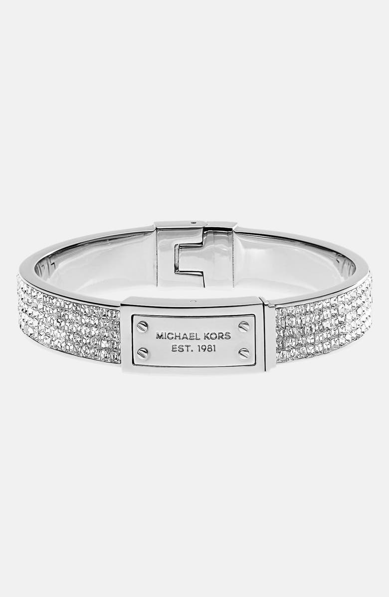 MICHAEL MICHAEL KORS Michael Kors Logo Plaque Pavé Hinged Bangle, Main, color, 040