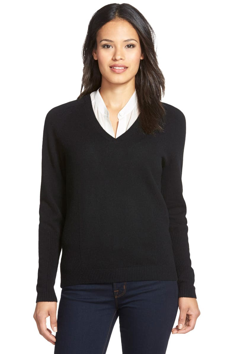 NORDSTROM COLLECTION Double V-Neck Cashmere Sweater, Main, color, 001
