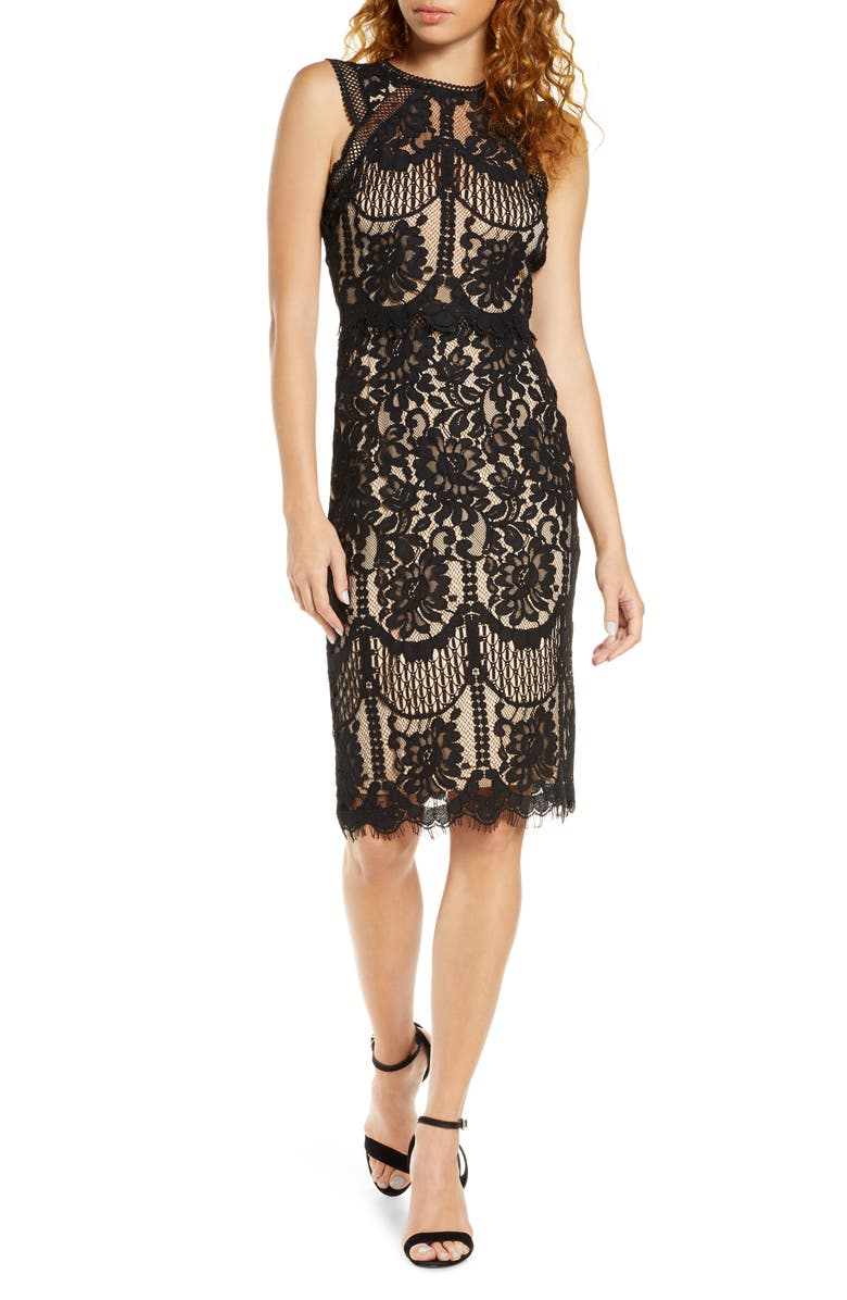 LULUS Sweetness Lace Cocktail Sheath Dress, Main, color, BLACK/ NUDE