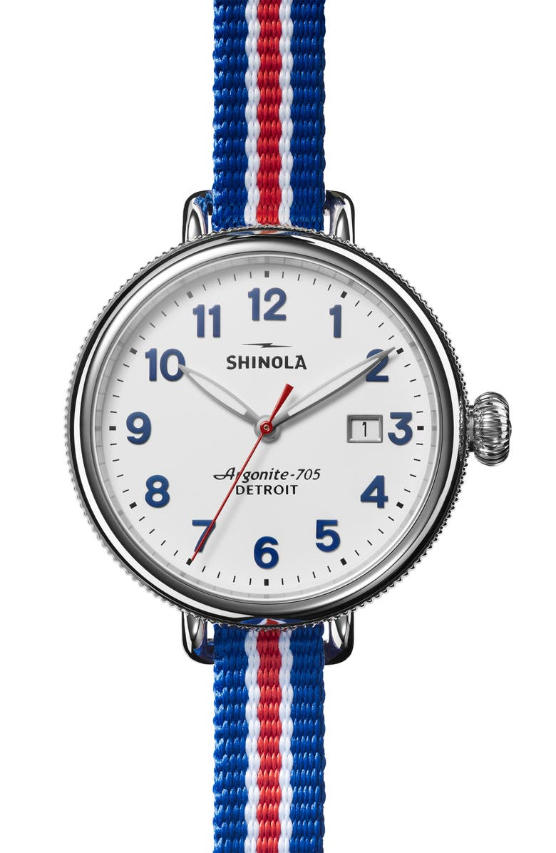 SHINOLA Birdy Blue/White/Red Grosgrain Stripe Strap Watch, 38mm, Main, color, WHITE/ BLUE