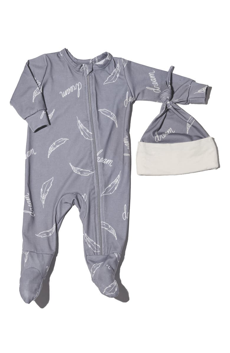 BABY GREY BY EVERLY GREY Baby Grey Jersey Footie & Hat Set, Main, color, DREAM