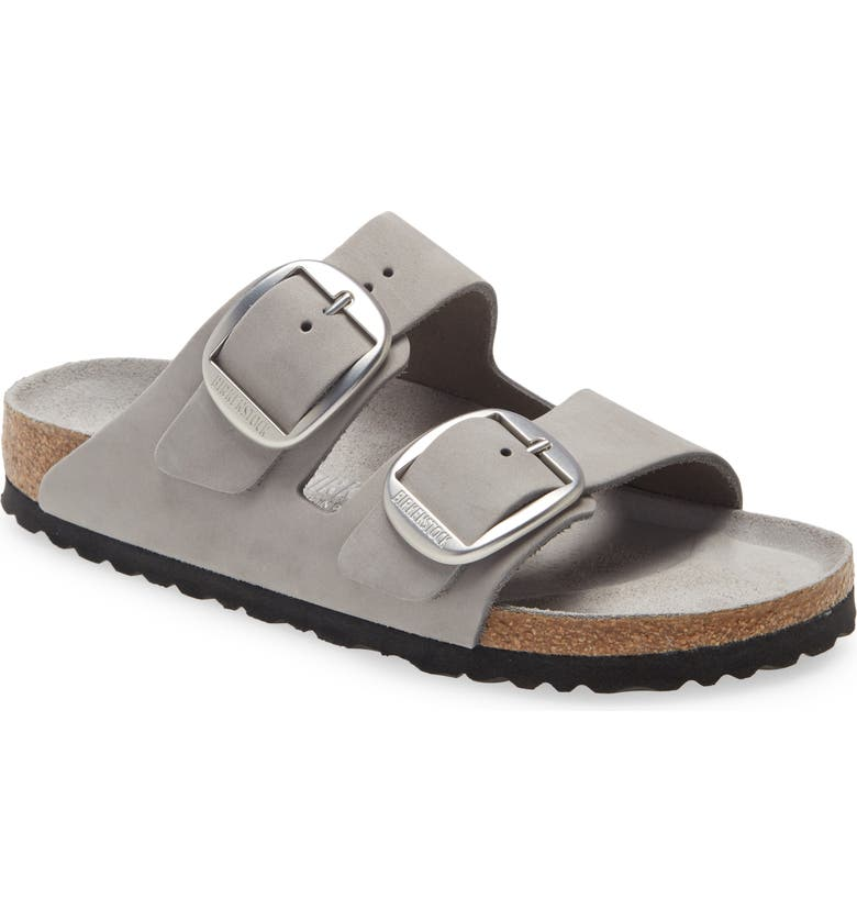 BIRKENSTOCK Arizona Big Buckle Slide Sandal, Main, color, DOVE GRAY NUBUCK LEATHER