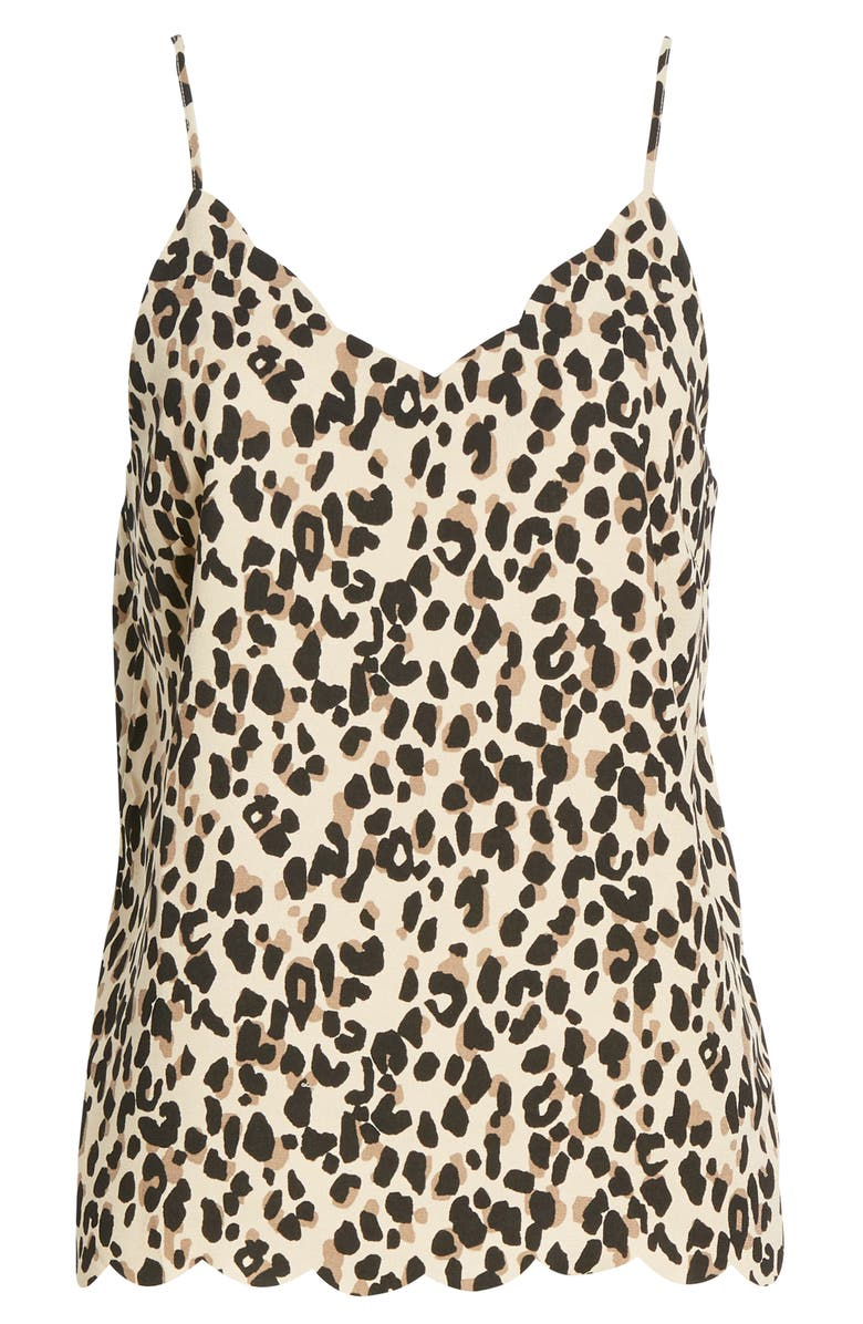 HALOGEN<SUP>®</SUP> Scallop Detail Camisole, Main, color, TAN ABSTRACT ANIMAL PRINT