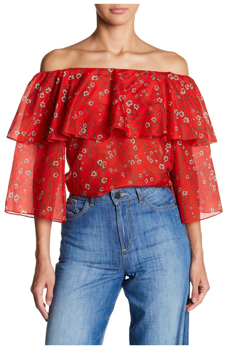 ALICE + OLIVIA Meagan Double Layer Off the Shoulder Top, Main, color, 992