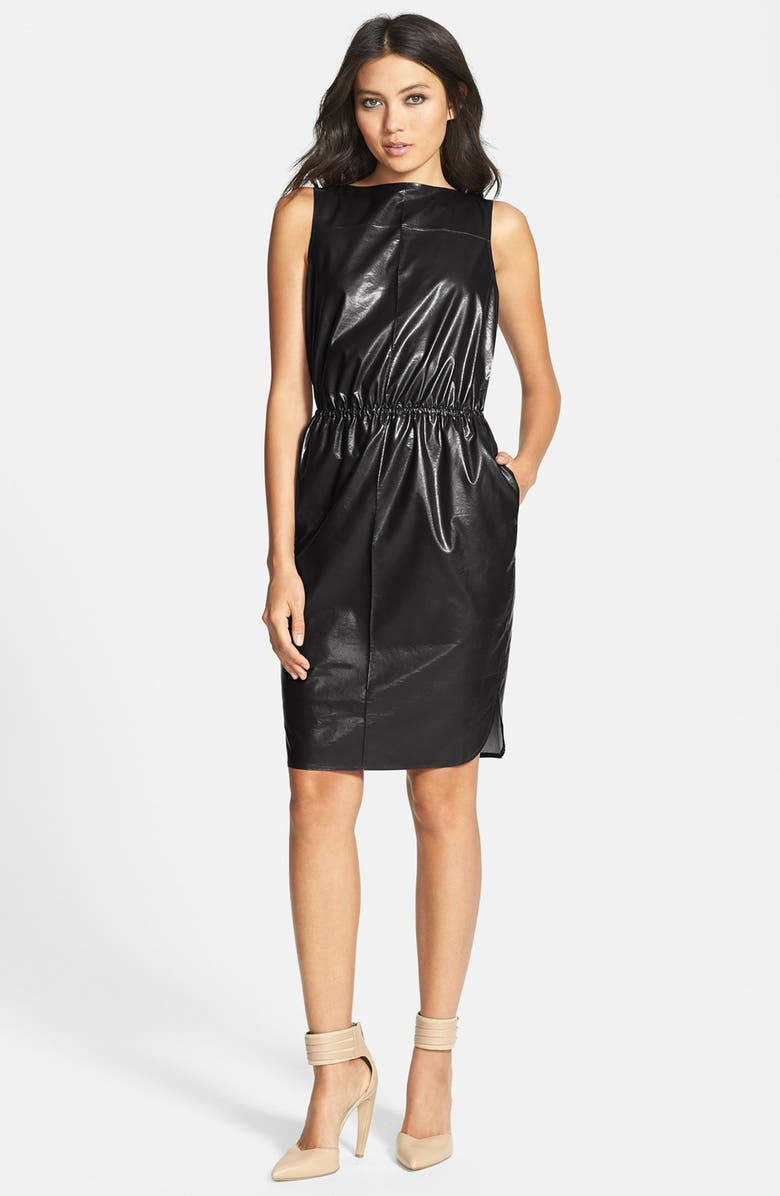 LEITH Cutout Faux Leather Dress, Main, color, 001