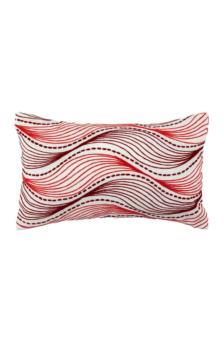 """DIVINE HOME Embroidered Waves Outdoor Pillow - 12"""" x 20"""" - Red/Pink, Main, color, RED / PINK"""