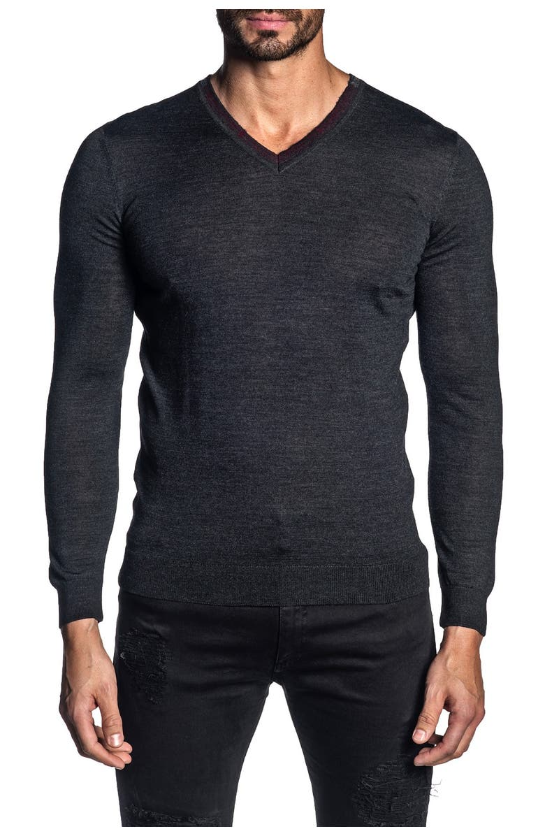 JARED LANG V-Neck Knit Pullover Sweater, Main, color, CHARCOAL