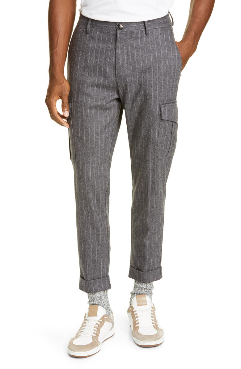 ELEVENTY Pinstripe Stretch Wool & Cashmere Cargo Pants, Main, color, 021