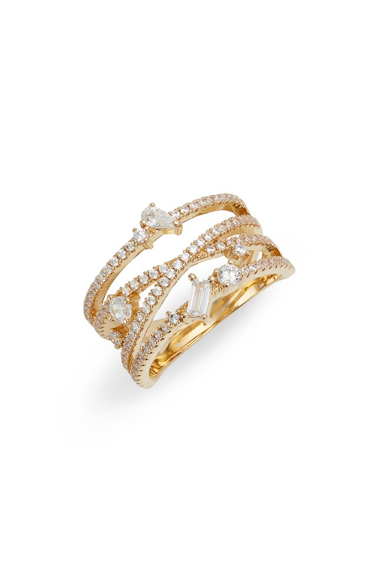 NORDSTROM Fancy Wrap Ring, Main, color, CLEAR- GOLD