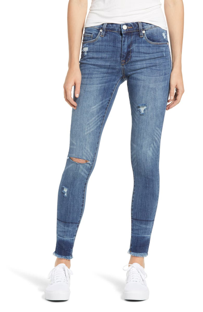 BLANKNYC The Bond Distressed High Waist Ankle Skinny Jeans, Main, color, LOW BLOW