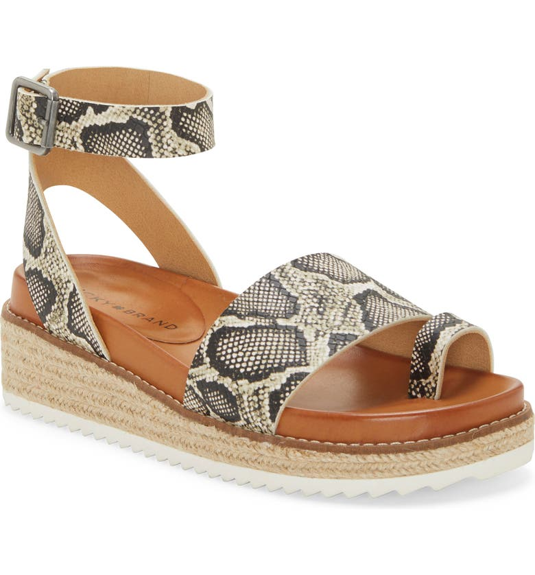 LUCKY BRAND Itolva Ankle Strap Espadrille Sandal, Main, color, SNAKE PRINT LEATHER
