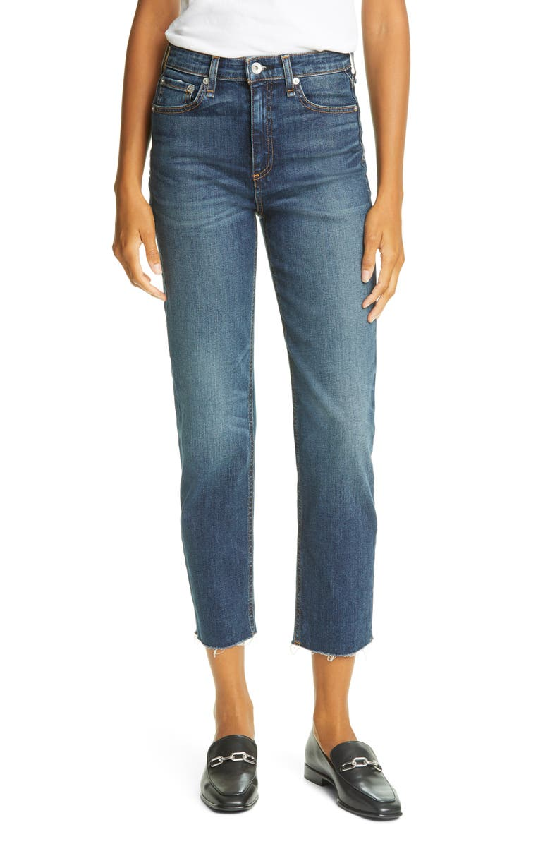 RAG & BONE Nina High Waist Raw Hem Straight Leg Jeans, Main, color, 420