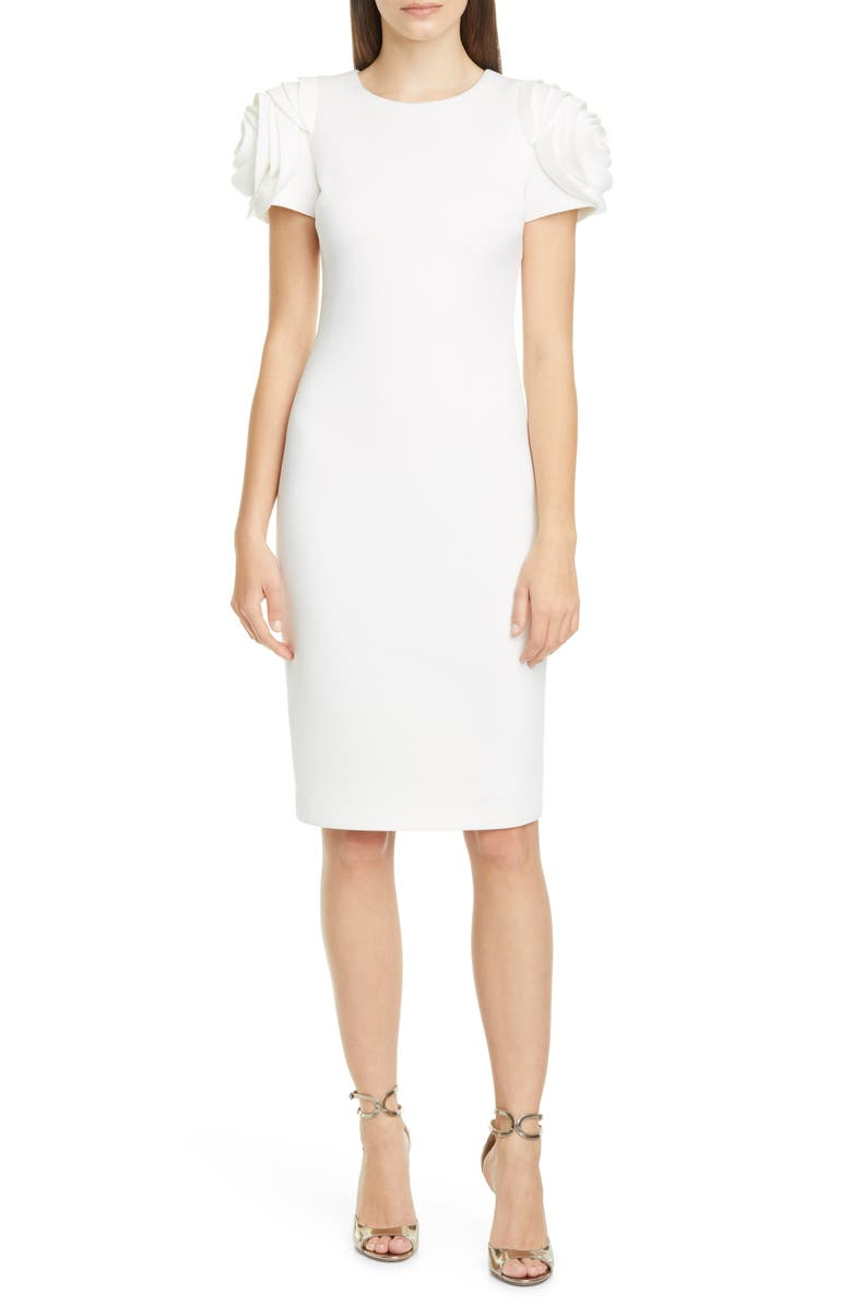 BADGLEY MISCHKA COLLECTION Rose Sleeve Cocktail Dress, Main, color, LIGHT IVORY