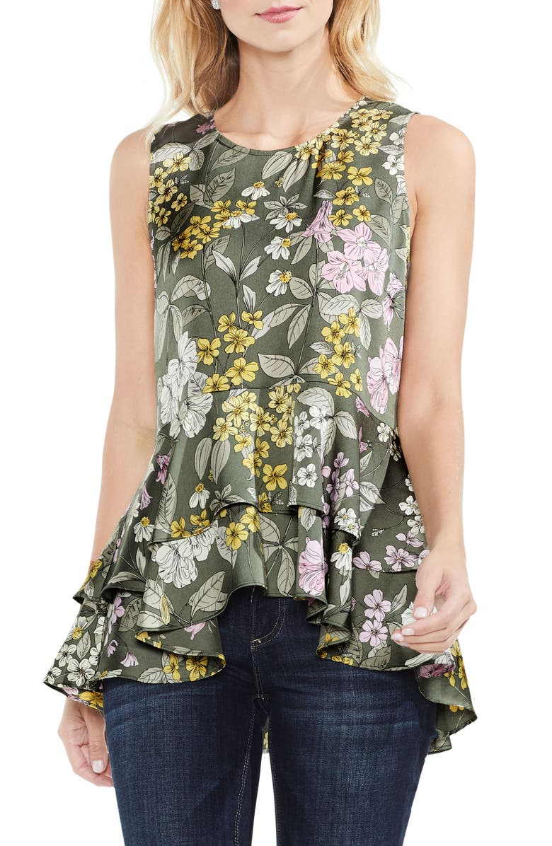 VINCE CAMUTO Tiered Ruffled Hem Floral Blouse, Main, color, 385