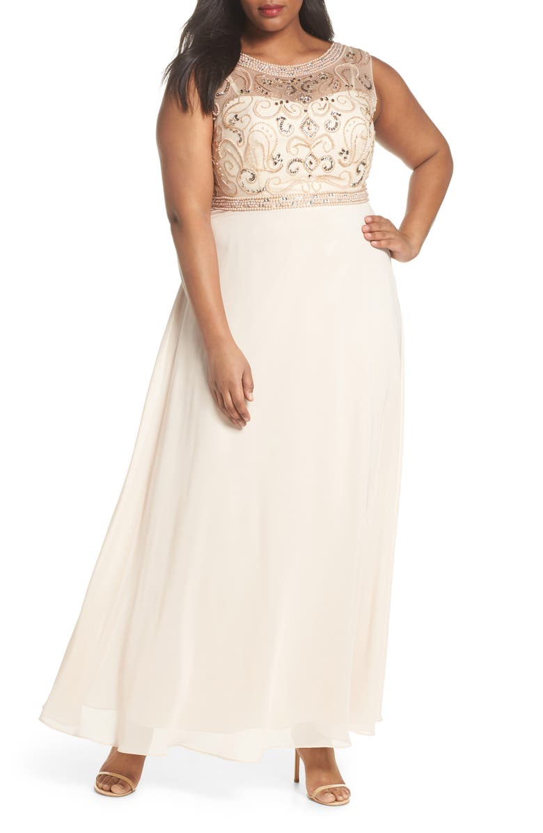 DECODE 1.8 Sleeveless Beaded Gown, Main, color, 262