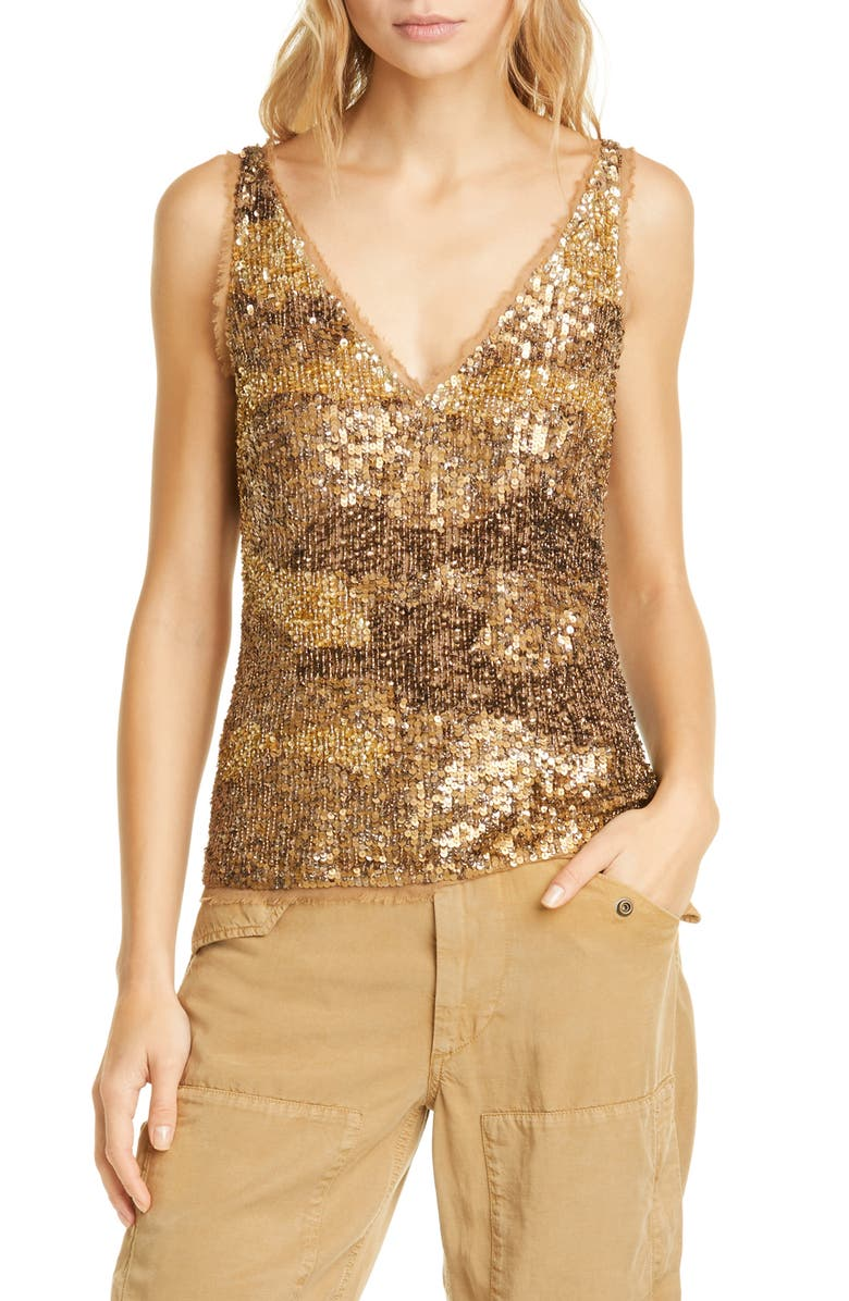 POLO RALPH LAUREN Gold Sequin & Tulle Tank Top, Main, color, 710