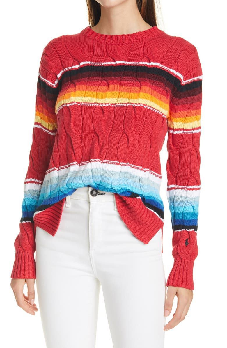 POLO RALPH LAUREN Exploded Cable Knit Sweater, Main, color, SERAPE