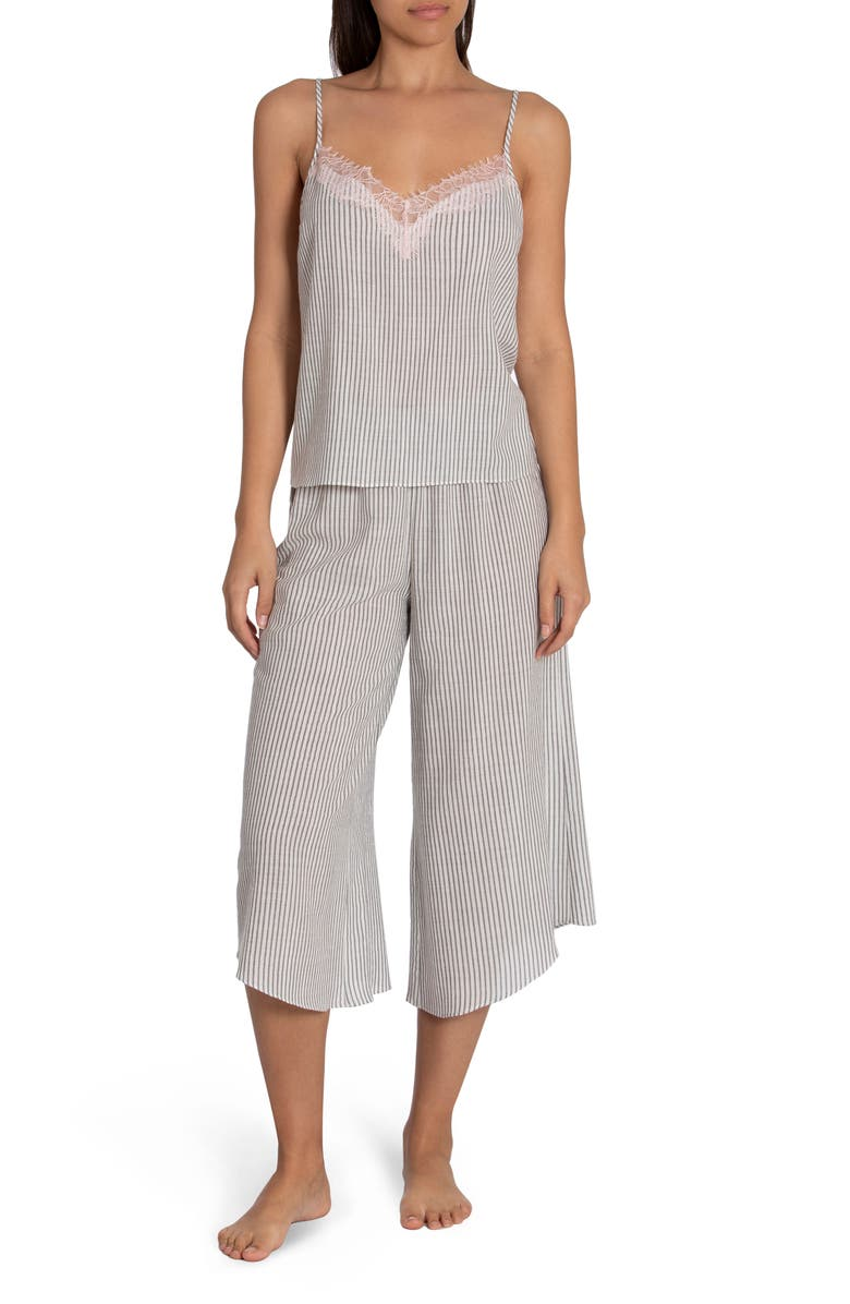 MIDNIGHT BAKERY Reese Stripe Camisole Crop Pajamas, Main, color, CHARCOAL/WHITE