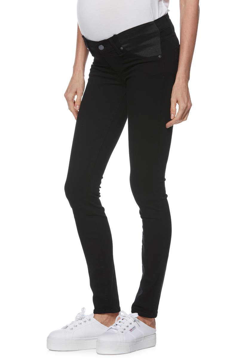 PAIGE Transcend Verdugo Skinny Maternity Jeans, Main, color, BLACK SHADOW