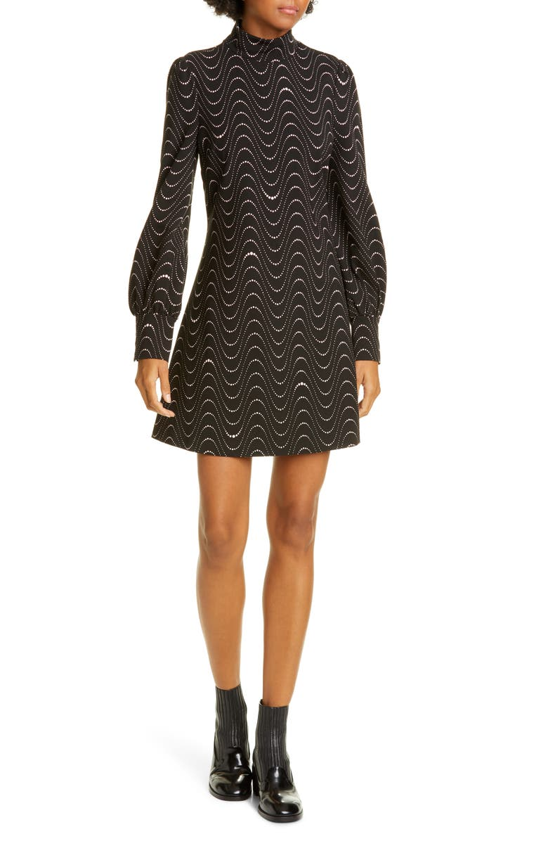 KATE SPADE NEW YORK wavy dot long sleeve ponte shift dress, Main, color, 001