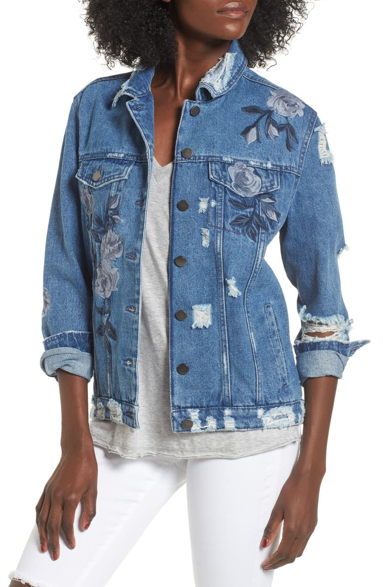 LOVE, FIRE Floral Embroidered Ripped Denim Jacket, Main, color, 422