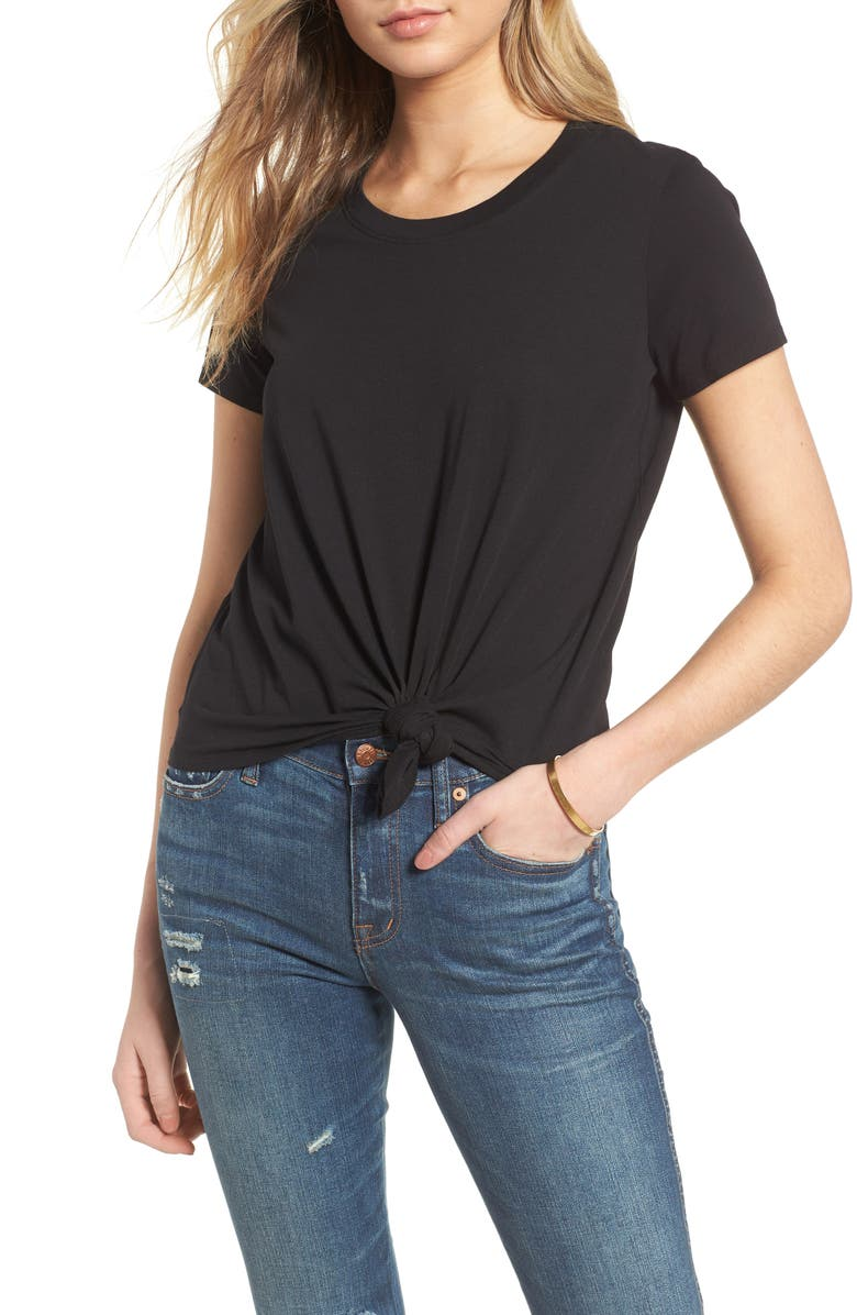 MADEWELL Knot Front Tee, Main, color, TRUE BLACK