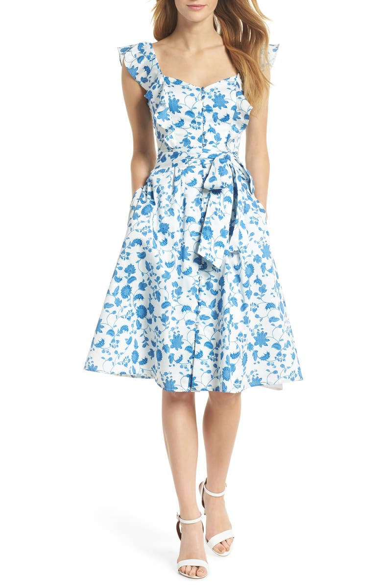 GAL MEETS GLAM COLLECTION Olivia Floral Wallpaper Print Fit & Flare Dress, Main, color, 400