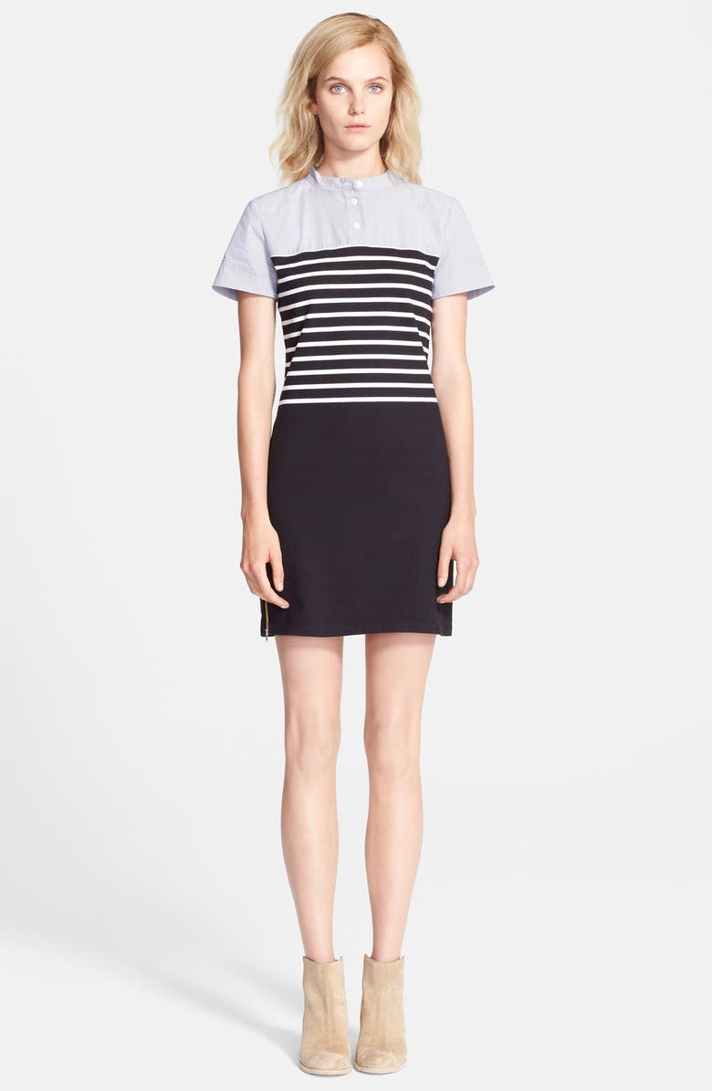 BAND OF OUTSIDERS Short Sleeve Breton Stripe Dress, Main, color, 006