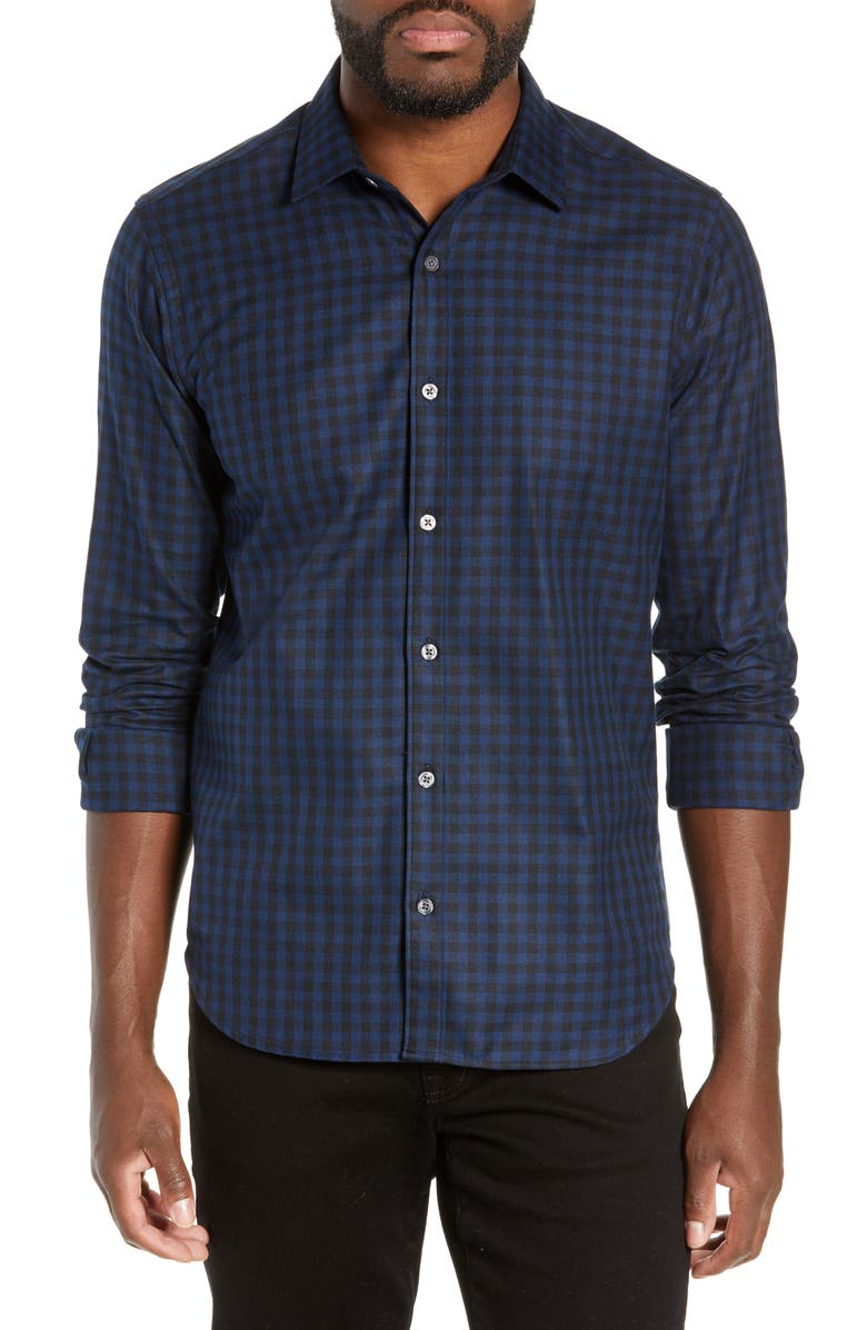 JEFF Buffalo Slim Fit Check Flannel Shirt, Main, color, 400