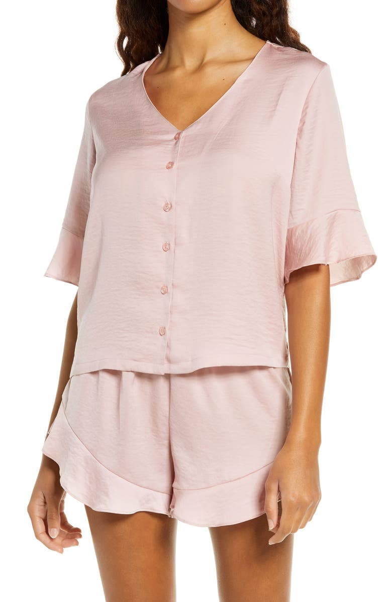 NORDSTROM Forever Satin Short Pajamas, Main, color, PINK PUFF