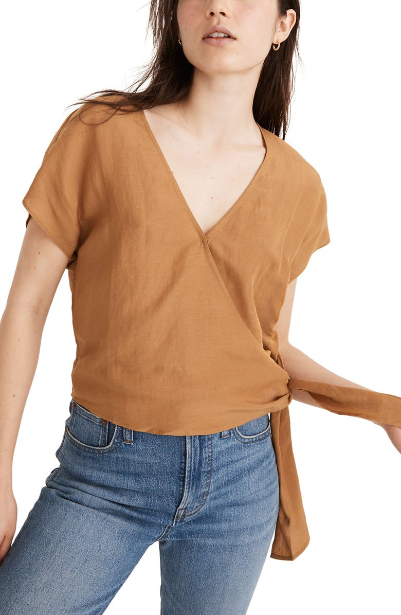 MADEWELL Linen Blend Sash Tie Wrap Top, Main, color, TOFFEE