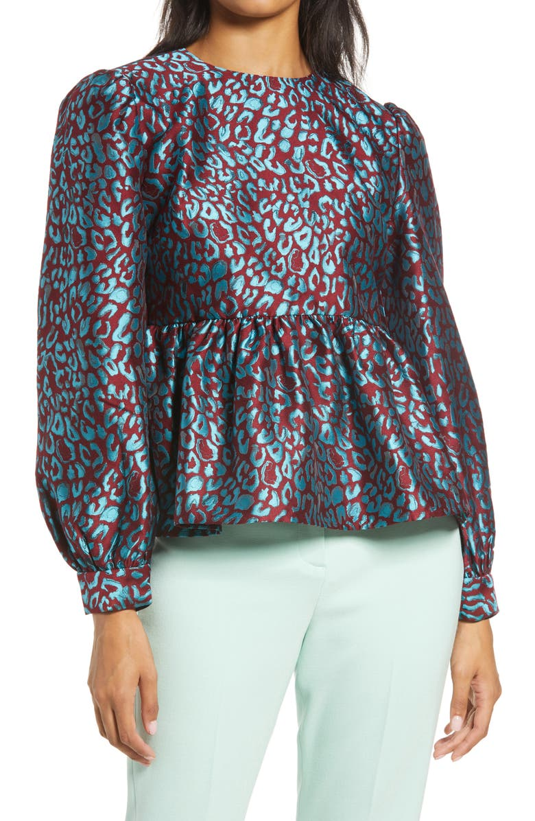HALOGEN<SUP>®</SUP> x Atlantic-Pacific Leopard Jacquard Top, Main, color, 440