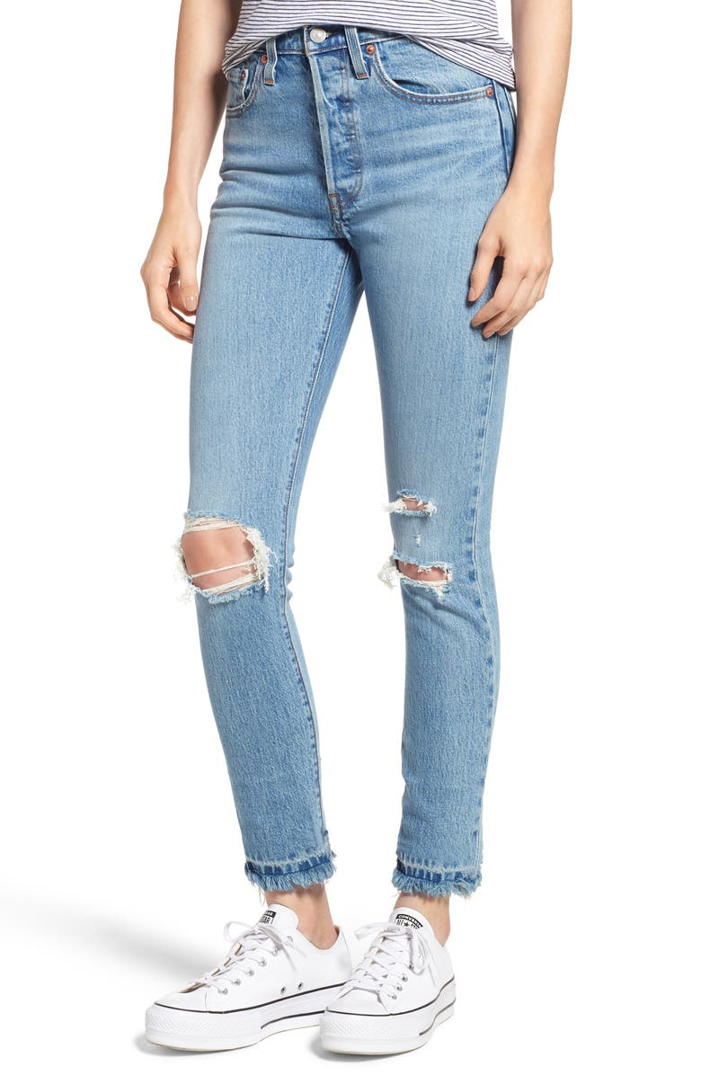 LEVI'S<SUP>®</SUP> 501<sup>®</sup> Ripped Skinny Jeans, Main, color, AUTHENTIC HEART