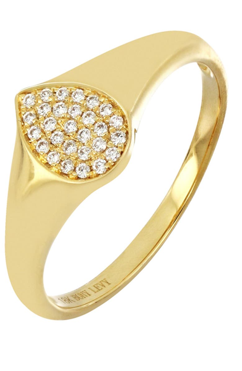 BONY LEVY 18K Yellow Gold Pave Diamond Pear Signet Ring - 0.11 ctw, Main, color, 18KY