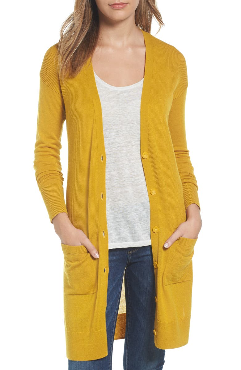 HALOGEN<SUP>®</SUP> Rib Knit Wool Blend Cardigan, Main, color, 701