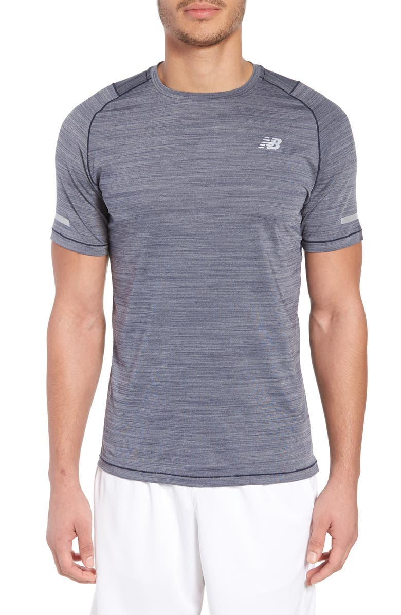 NEW BALANCE Seasonless Crewneck T-Shirt, Main, color, PIGMENT HEATHER