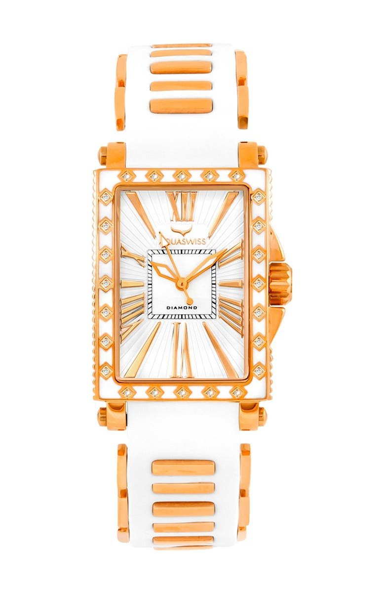 AQUASWISS Women's Grace Silicone Strap Watch, 58mm - 0.25 ctw, Main, color, WHITE-ROSEGOLD