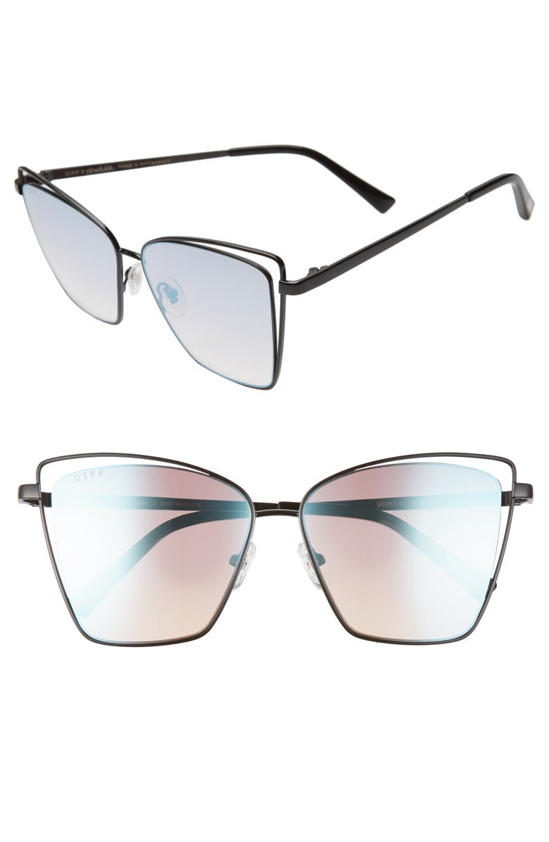 DIFF Becky III 57mm Sunglasses, Main, color, 001