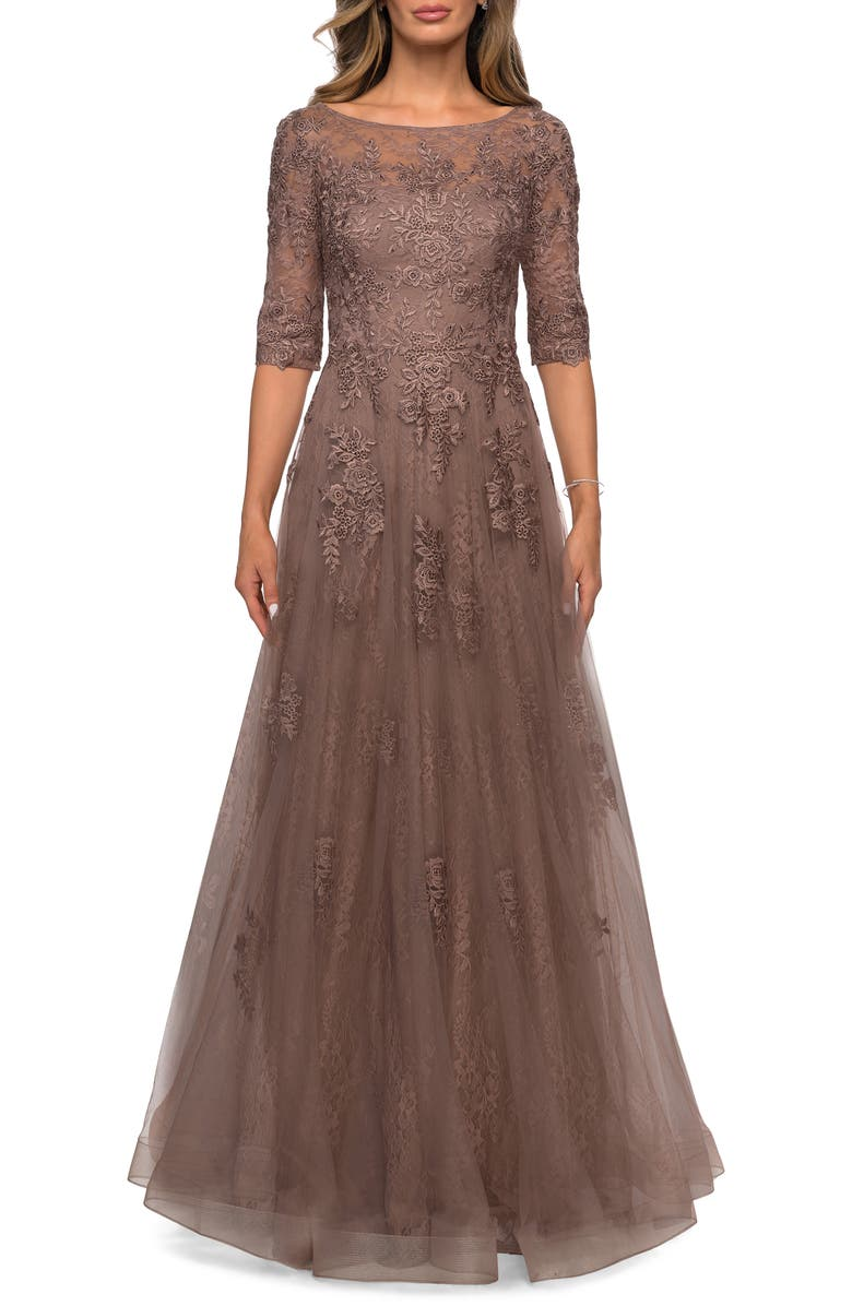 LA FEMME Floral Lace & Tulle Gown, Main, color, 208