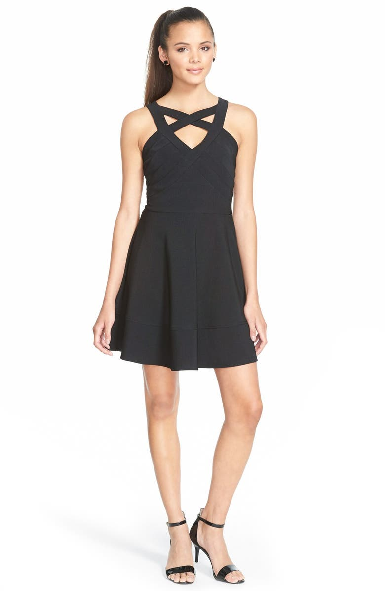 LOVE, NICKIE LEW Cage Front Fit and Flare Dress, Main, color, 001