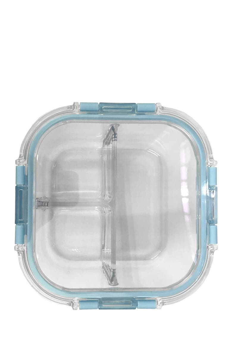 Edge Kitchen Teal 3 Section Rectangle Glass Food Locktop Container