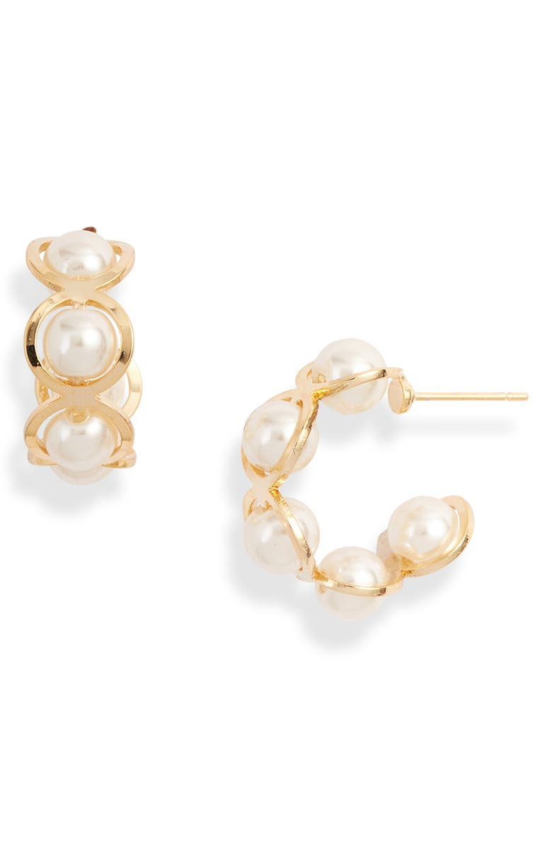 8 OTHER REASONS Sunset Surf Imitation Pearl Hoop Earrings, Main, color, 710