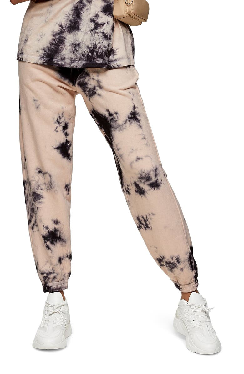 TOPSHOP Tie Dye Joggers, Main, color, 001