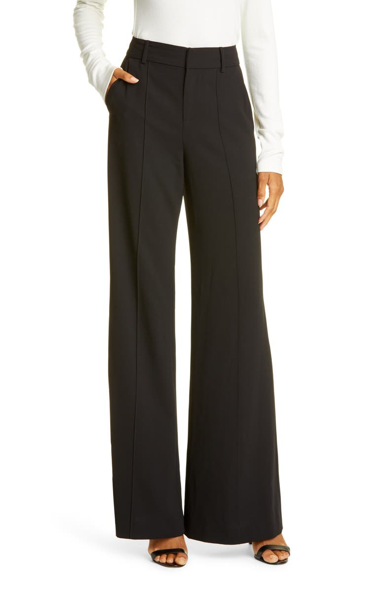 ALICE + OLIVIA Dylan Bootcut Pants, Main, color, BLACK