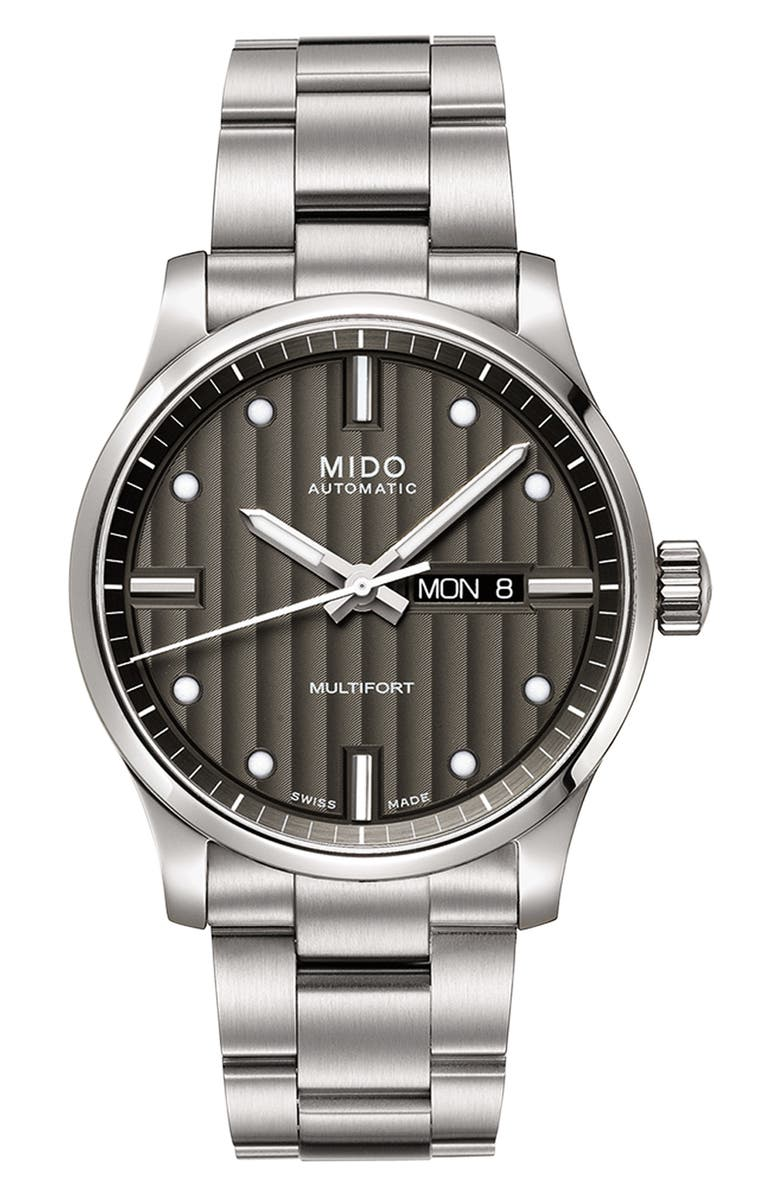 MIDO Multifort Automatic Bracelet Watch, 42mm, Main, color, SILVER/ GREY