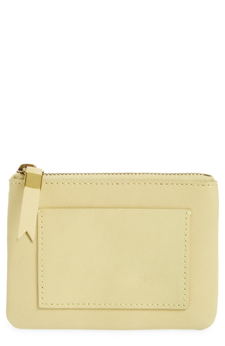 MADEWELL Leather Pocket Pouch Wallet, Main, color, CRISP PEAR