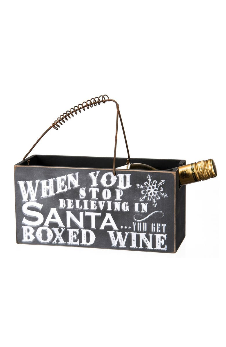 PRIMITIVES BY KATHY 'When You Stop Believing' Wine Caddy, Main, color, Black