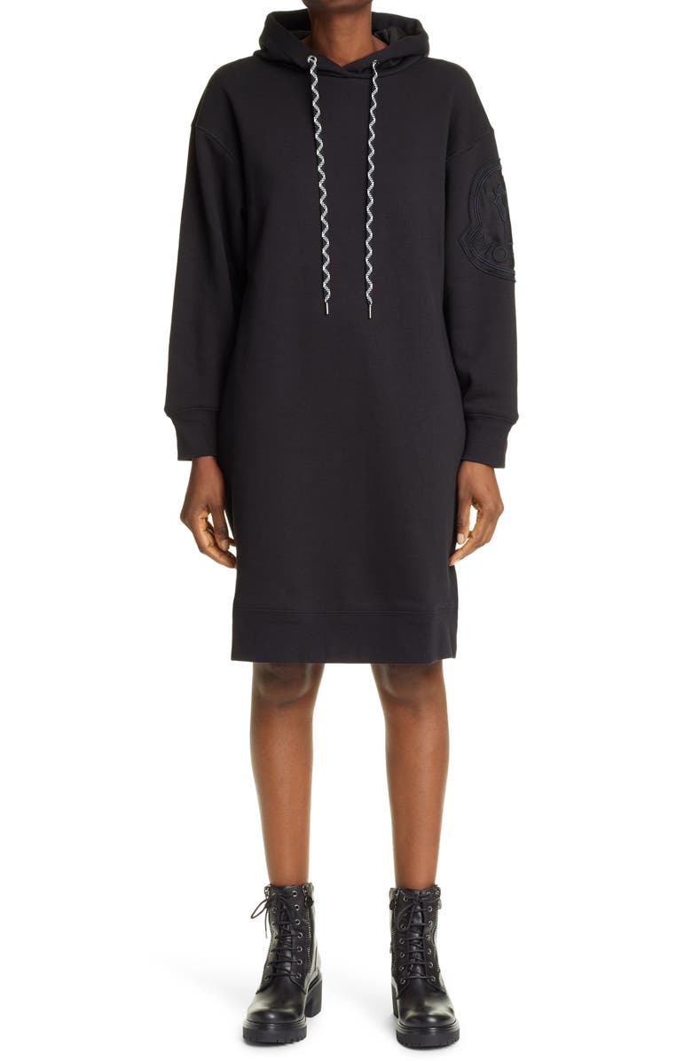 MONCLER Logo Embroidered Long Sleeve Hoodie Dress, Main, color, Black