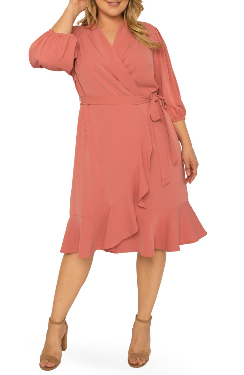 STANDARDS & PRACTICES Kylie Ruffle Wrap Dress, Main, color, DUSTY PINK